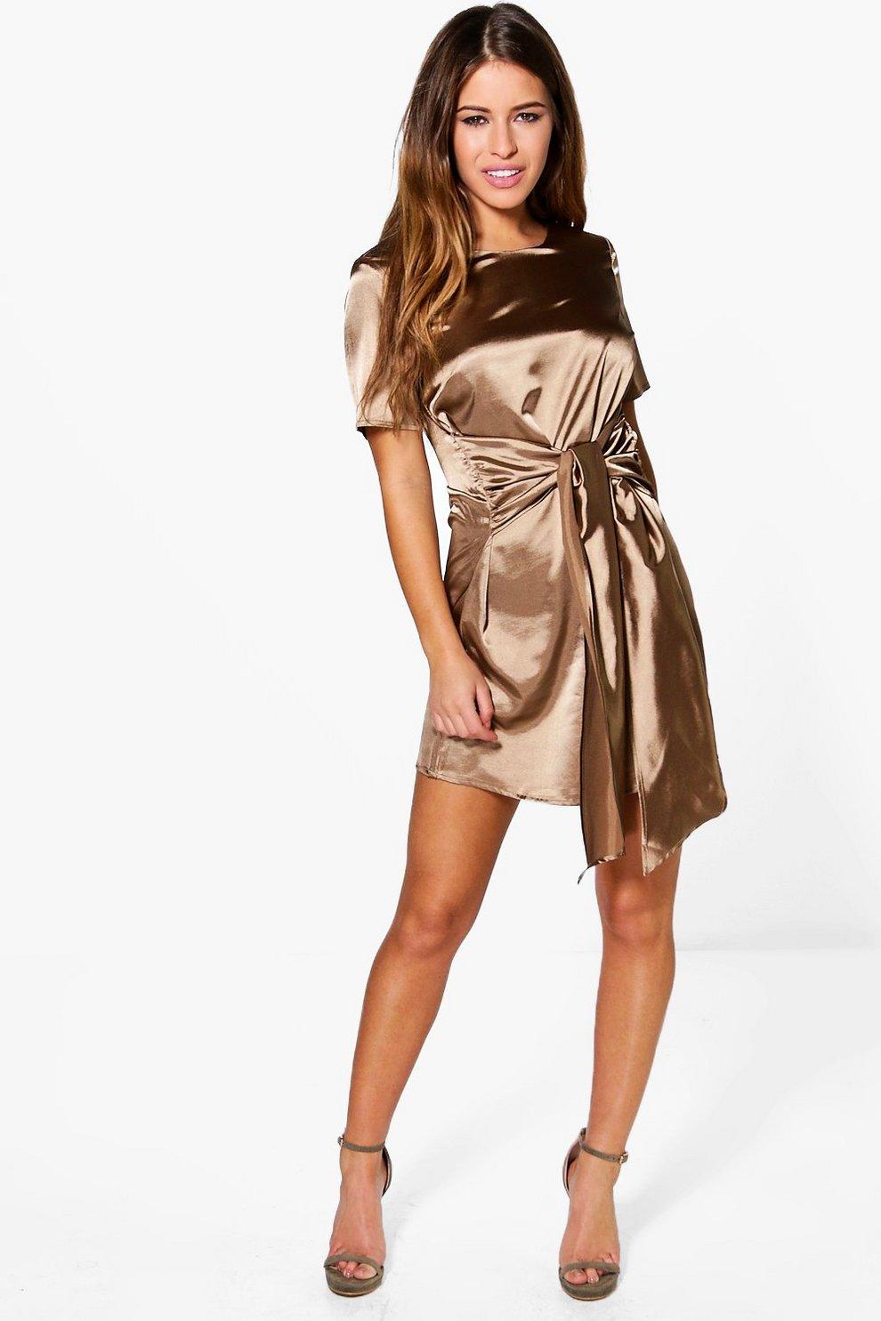3226106aad9a Womens Taupe Petite Charlie Satin Tie Waist Shift Dress