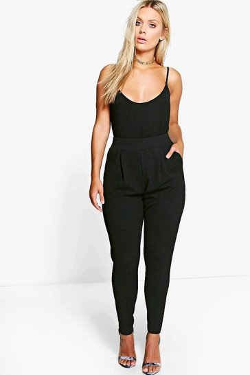 Womens Black Plus  Pleat Front Trouser