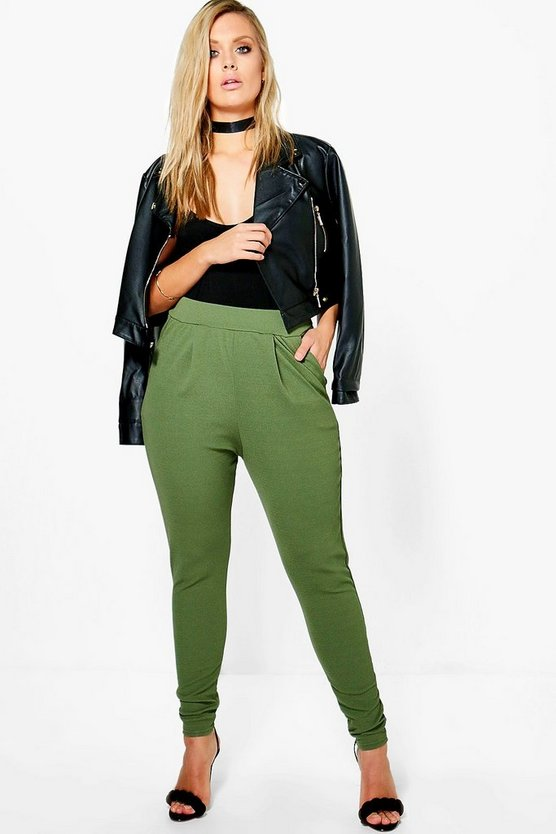 Womens Khaki Plus  Pleat Front Trouser