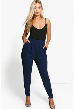 Womens Navy Plus  Pleat Front Trouser