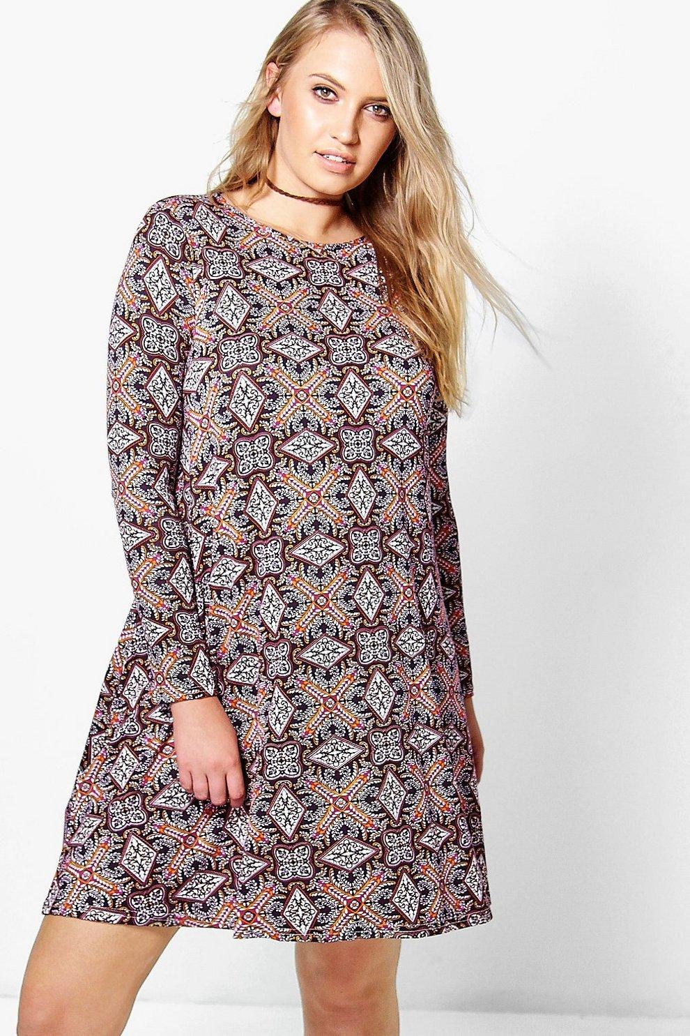 5e73ee332311 Plus Taylor Long Sleeve Printed Swing Dress | Boohoo
