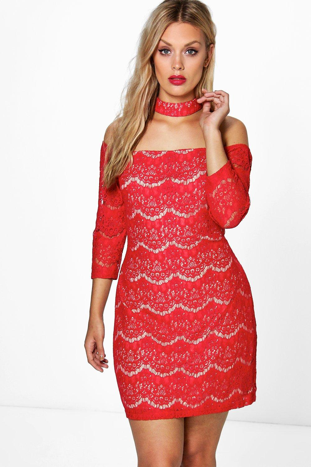 Plus Larissa Choker Lace Dress Boohoo