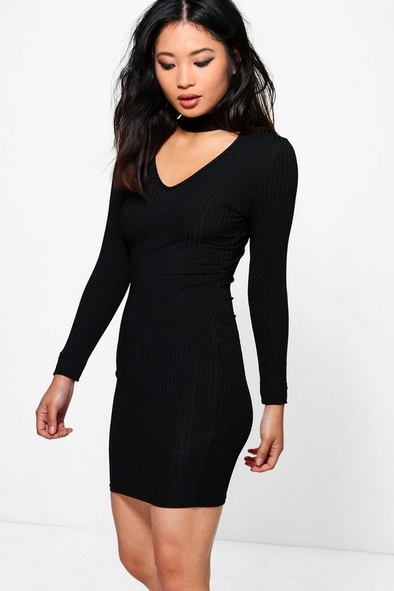 Petite Sadie Rib Knit Choker Dress