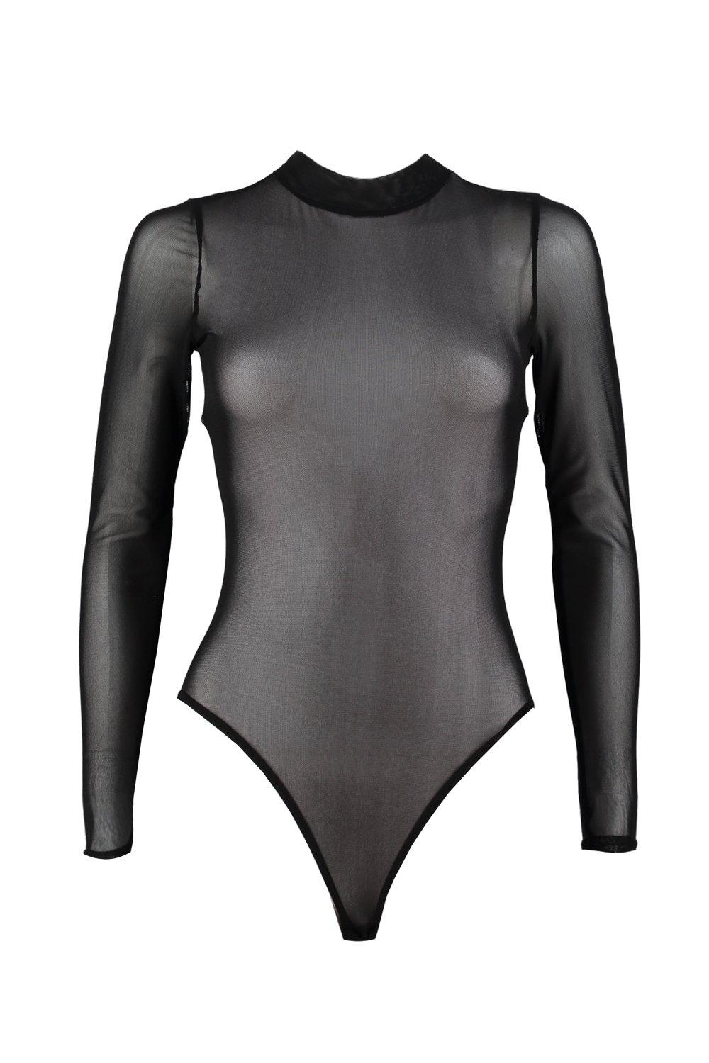 f65665fcf85 Womens Black Petite High Neck Mesh Bodysuit. Hover to zoom. Close video