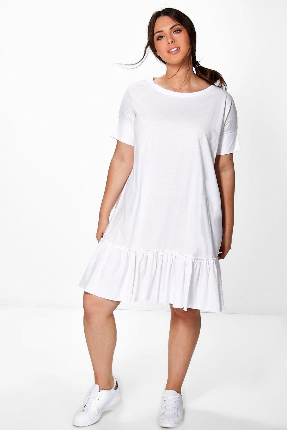 ab39abe53b25 Womens White Plus Diana Frill Hem T-Shirt Dress