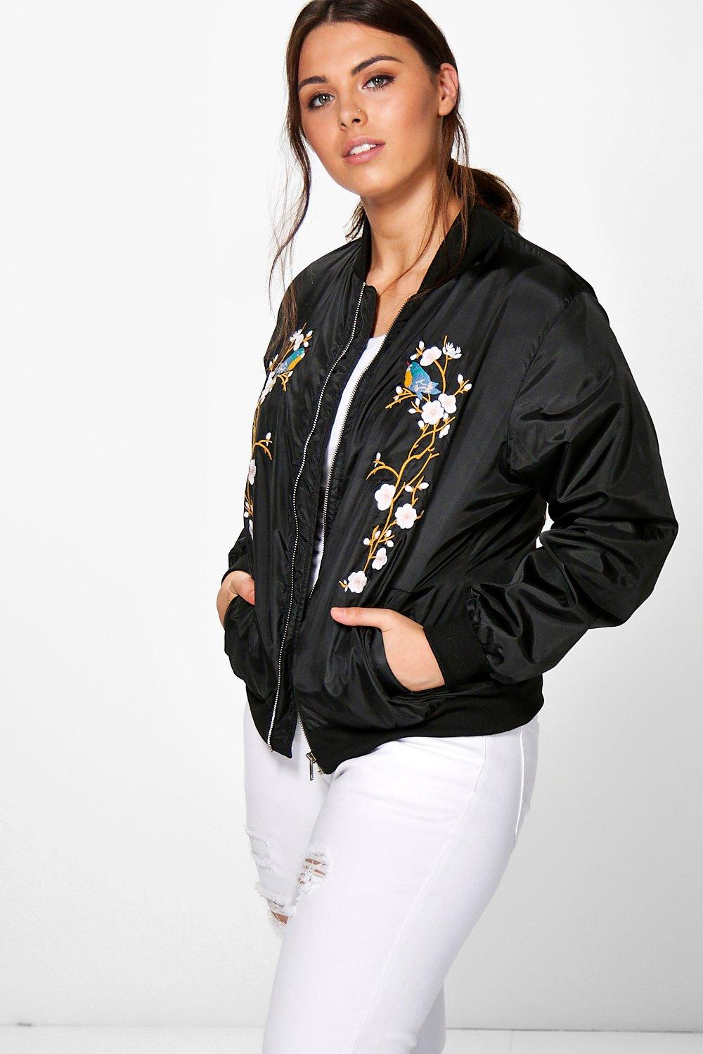 1e790aa0698a5 Womens Black Plus Mel Floral Bird Embroidered Bomber Jacket. Hover to zoom
