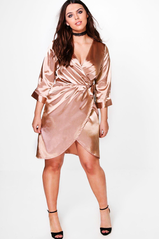 Plus Julia Satin Wrap Dress | Boohoo