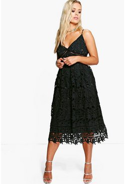 Black Plus Leila Applique V Neck Lace Skater Dress