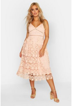 Blush Plus Leila Applique V Neck Lace Skater Dress