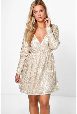 Womens Gold Plus Sequin Wrap Skater Dress