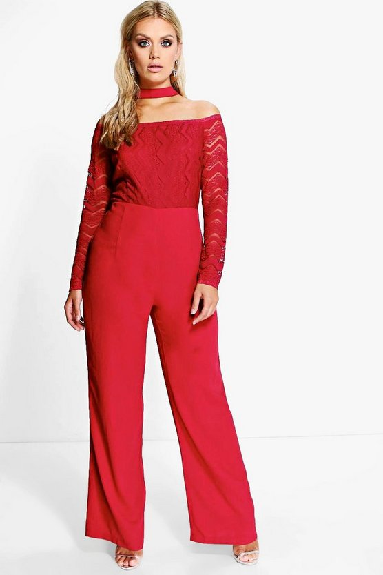 Plus Off The Shoulder Choker Jumpsuit