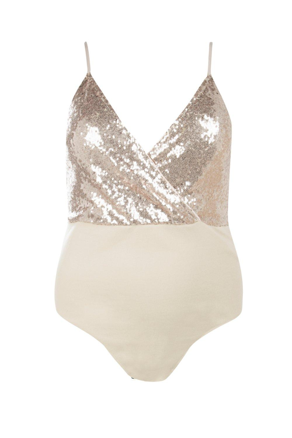 Sequin Bodysuit blush Wrap Plus Bodysuit Wrap Plus Sequin blush xAq7HYwT