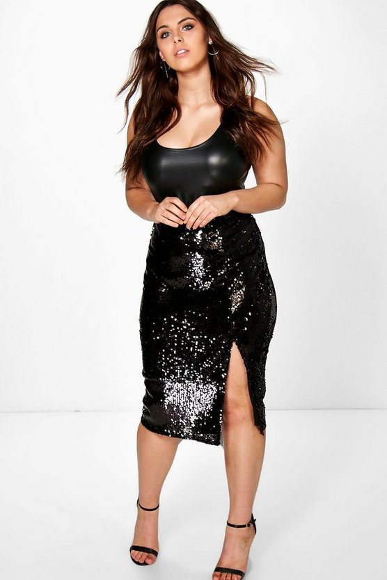 Plus Sequin Split Front Midi Skirt