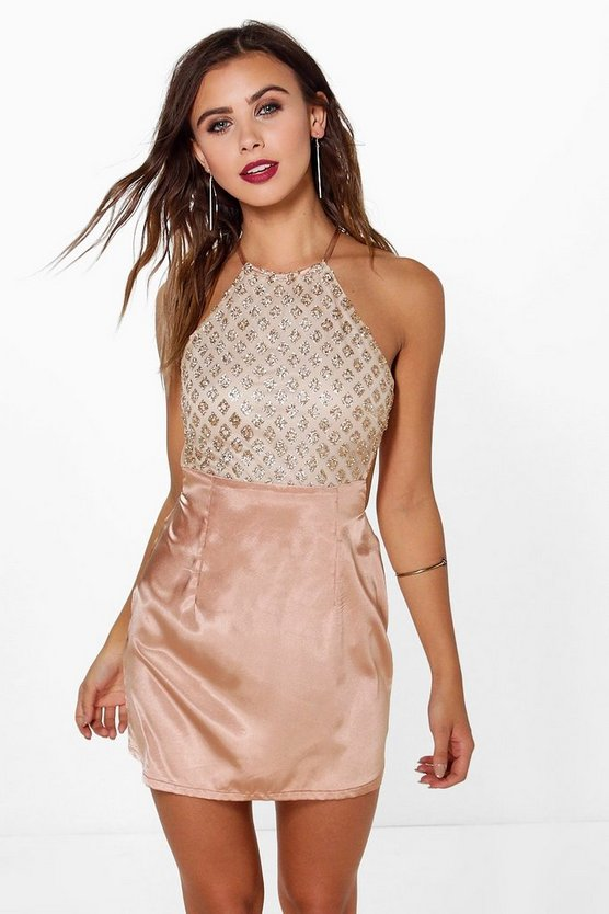 Petite Sequin Top Aline Dress