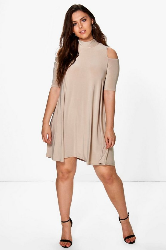 Plus Jen Highneck Swing Dress