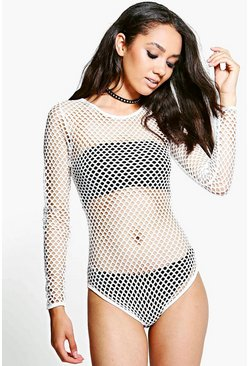 Womens White Petite Holly All Over Mesh Bodysuit Top