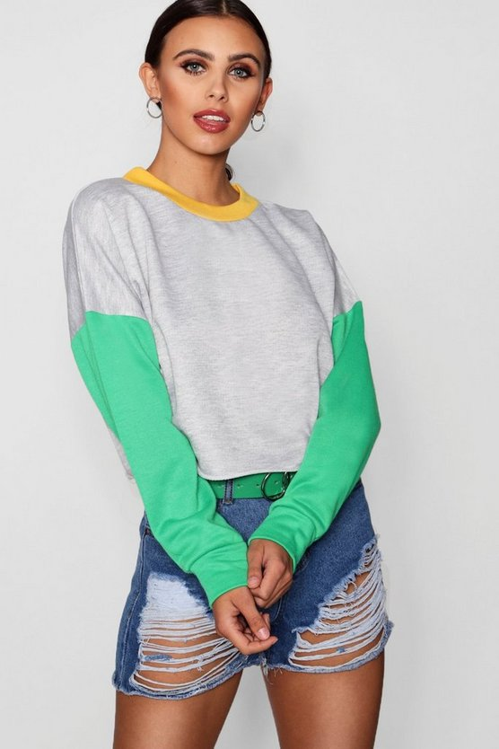 Petite Block Crop Sweat