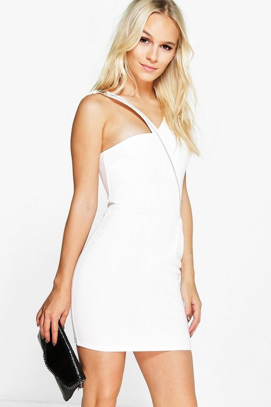 Petite Keira Exposed Zip Bodycon Dress