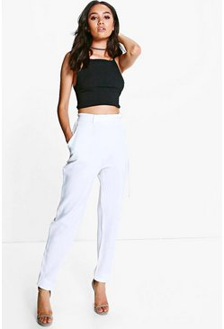 Womens Cream Petite Tie Waist Tapered Trouser