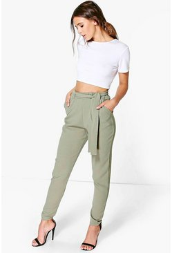 Womens Khaki Petite Tie Waist Tapered Trouser