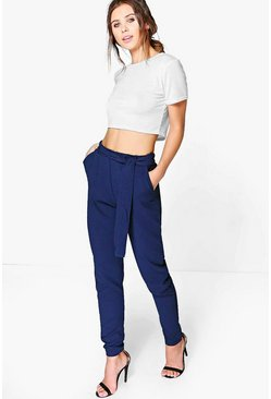 Womens Navy Petite Tie Waist Tapered Trouser