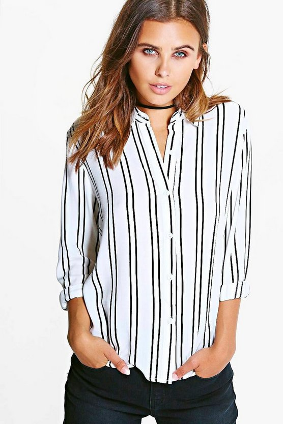 Petite Striped Oversized Shirt