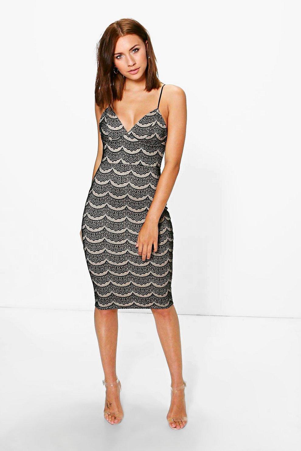 1b1832665332 Petite Josie Bonded Lace Strappy Midi Dress | Boohoo
