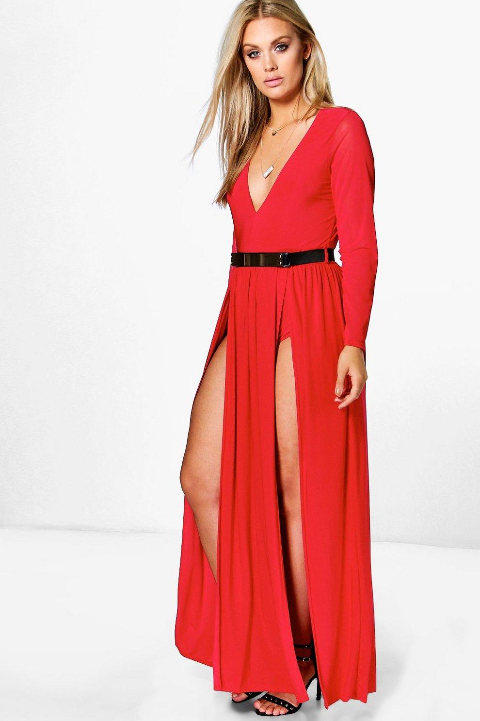 991037f1c2a8 Womens Red Plus Karina Plunge Split Maxi Dress