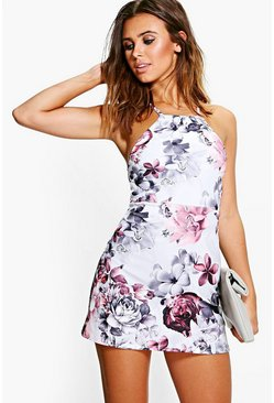Womens Grey Petite  Floral Print Strappy Mini Dress