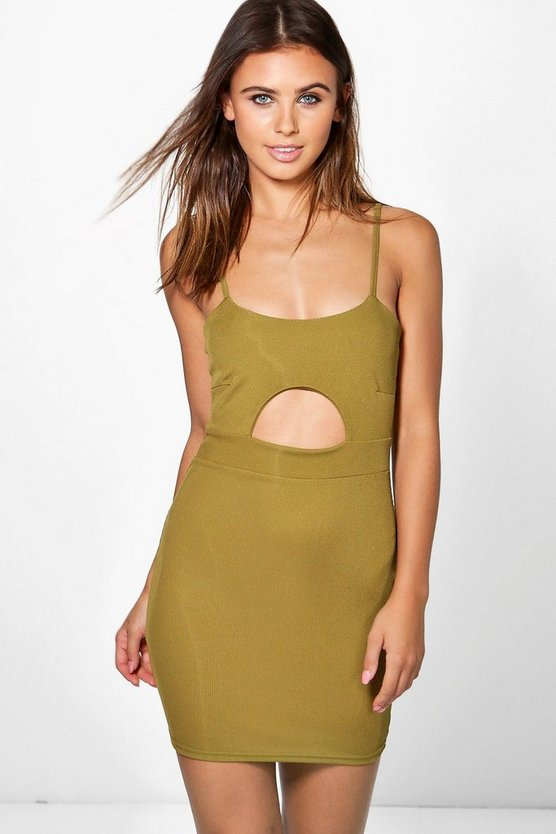 Womens Olive Petite Mais Keyhole Detail Ribbed Bodycon Dress