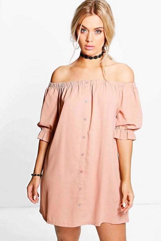 Womens Rose Plus Off The Shoulder Shift Dress