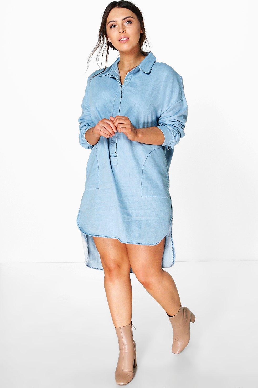 Plus Sinead Denim Shirt Dress   Boohoo