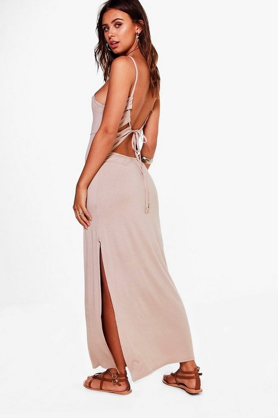 Petite Oana Back Lace Up Tie Maxi Dress