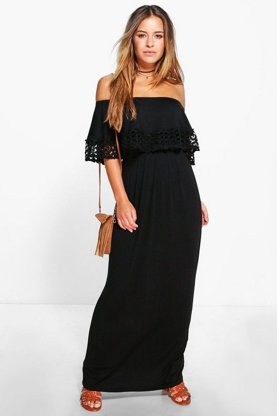 Womens Black Petite Bardot Trim Detail Maxi Dress