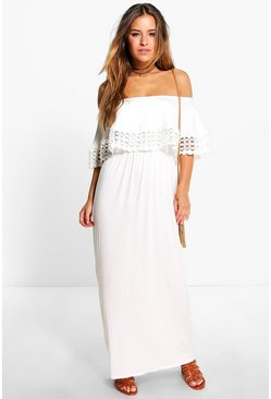 Womens Cream Petite Bardot Trim Detail Maxi Dress