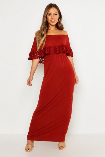 Womens Terracotta Petite Bardot Trim Detail Maxi Dress