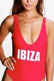 a7d127cf9c1f0 ... Womens Red Petite Flora 'Ibiza' Slogan Swimsuit alternative image