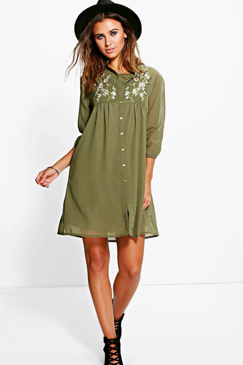 3e7a57ed8c698 Womens Khaki Petite Jennie Embroidered Shirt Dress. Hover to zoom