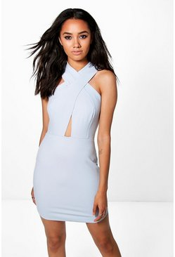 Womens Blue Petite Tabby Strappy Bodycon Dress