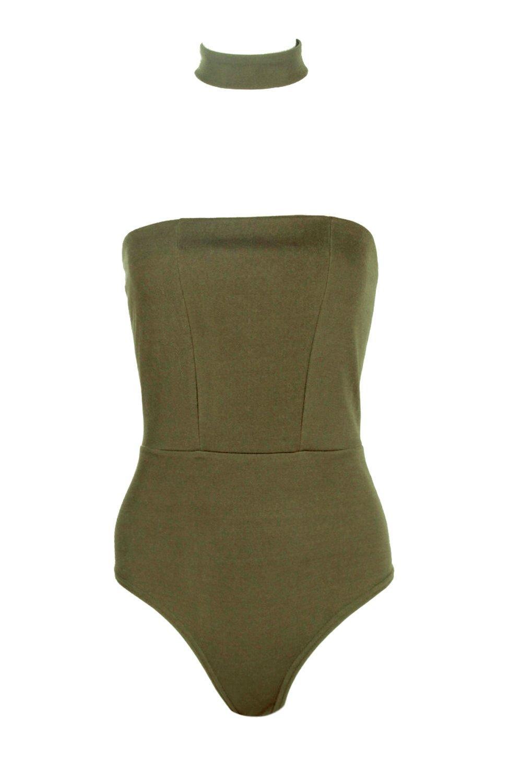 Choker Petite khaki Detachable Bandeau Bodysuit 6115Zx