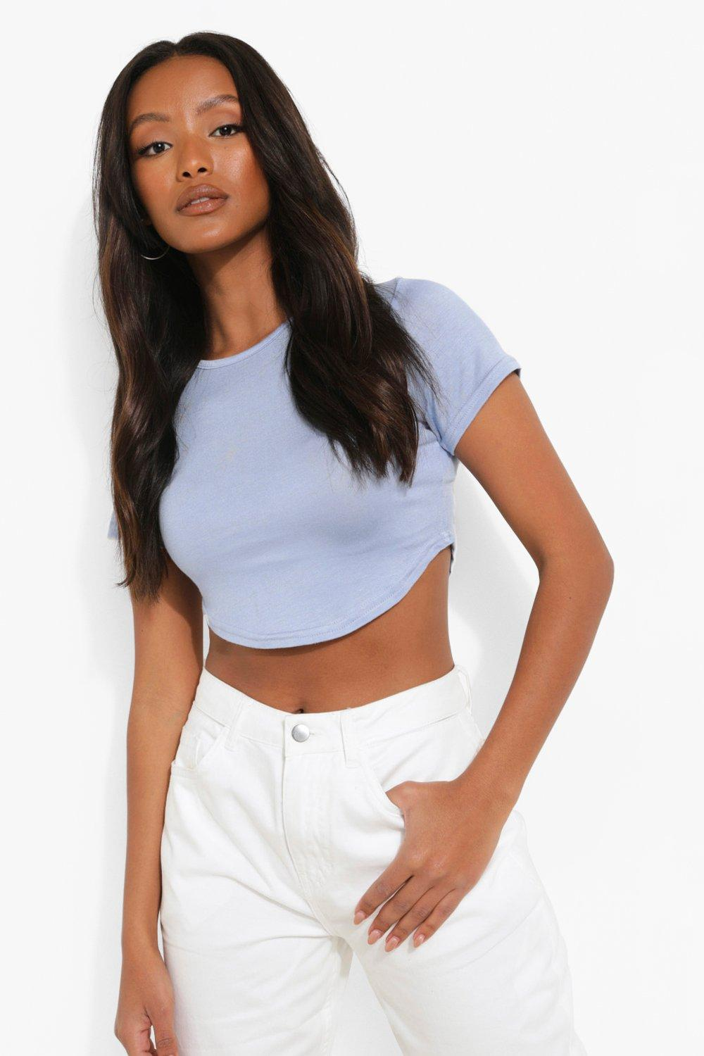 powder Crop Top Petite Petite blue blue powder Crop Top gBfqxB
