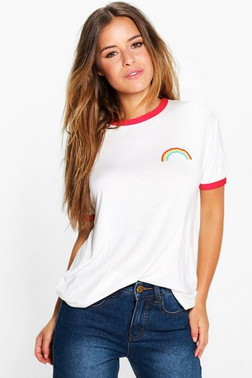 Womens Red Petite Rainbow Logo Binding T-Shirt