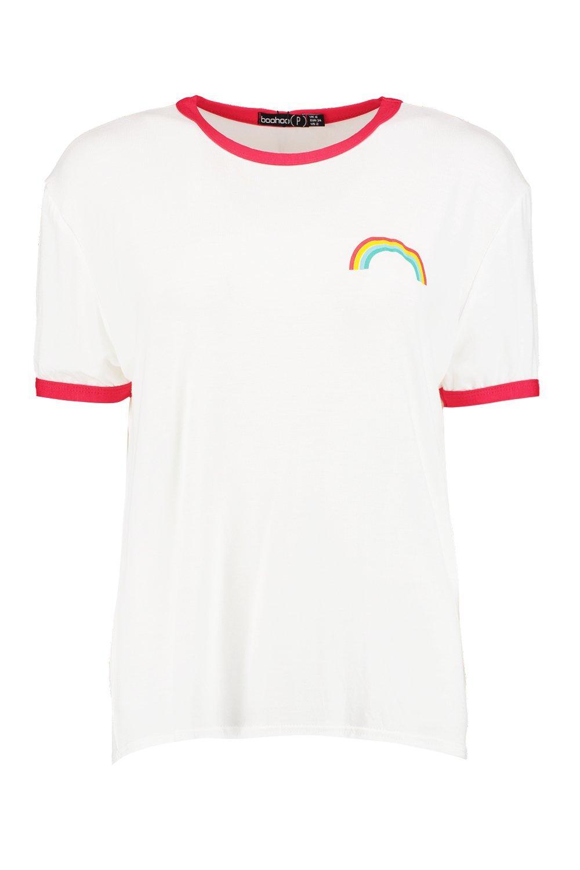 red Petite Rainbow Logo Binding Shirt T FXFxqw