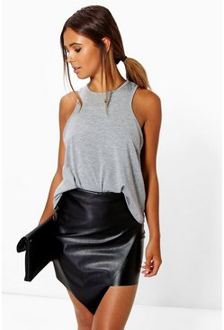 Womens Black Petite Asymmetric PU Mini Skirt