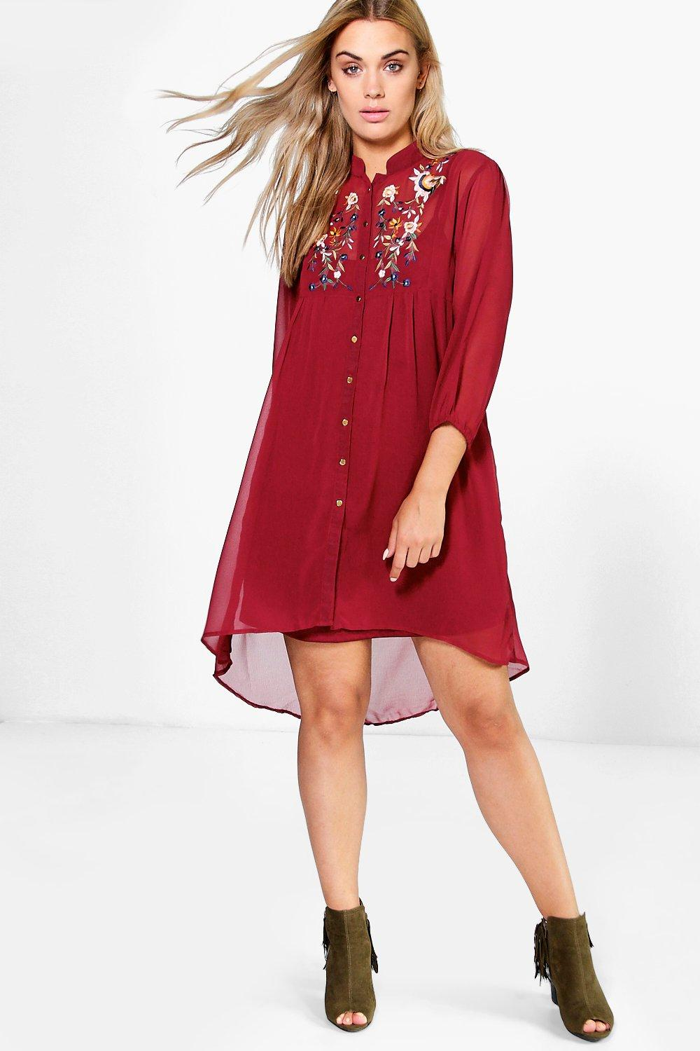 2c85cc005bb0 Plus Mindy Embroidered Shirt Dress | Boohoo