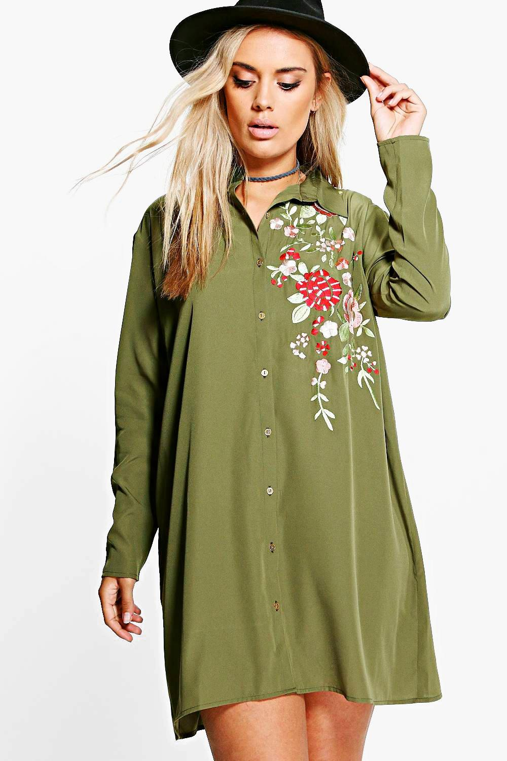 e9a979597741 Plus Carey Embroidered Shirt Dress | Boohoo