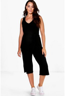 Womens Black Plus Gracie Ribbed Belted Jumpsuit