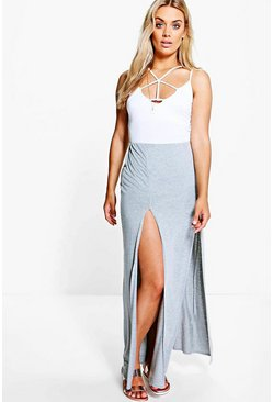 Womens Grey Plus  Split Front Maxi Skirt
