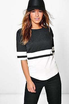 petite colour block oversized t-shirt
