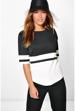 Womens Multi Petite Colour Block Oversized T-Shirt
